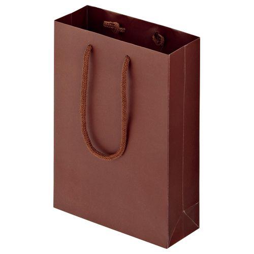 【キャッシュレス5%還元】マットコート手提袋 SS ヨコ180×タテ250×マチ幅70mm ブラウン 1パック(10枚)