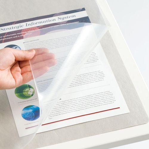 【キャッシュレス5%還元】【送料無料】【法人(会社・企業)様限定】TANOSEE 再生透明オレフィンデスクマット ダブル(下敷付) 600×450mm グレー 1セット(5枚)