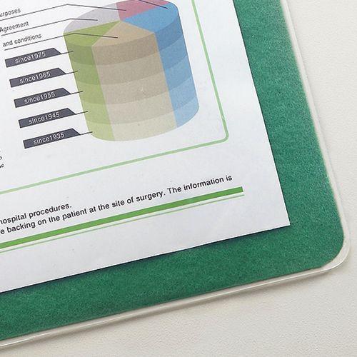【送料無料】【法人(会社・企業)様限定】TANOSEE 再生透明オレフィンデスクマット ダブル(下敷付)600×450mm グリーン 1セット(5枚)