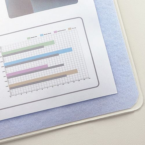 【送料無料】【法人(会社・企業)様限定】TANOSEE 再生透明オレフィンデスクマット ダブル下敷付1190×690mmライトブルー 1セット(5枚)