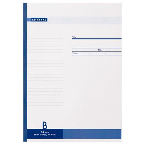 【キャッシュレス5%還元】ノートブック A4 B罫6mm 40枚 1セット(80冊)