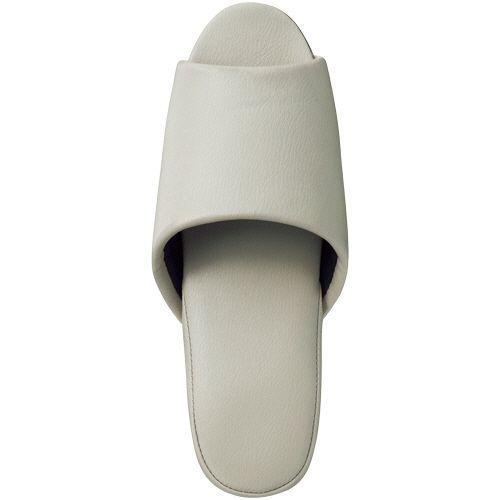 オーミケンシ 抗菌ビニールレザー調スリッパ(前開き) ホワイトグレー 1セット(30足)