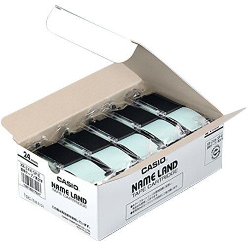 【送料無料】【法人(会社・企業)様限定】カシオ NAME LAND スタンダードテープ 24mm×8m 透明/黒文字 1セット(10個:5個×2パック)