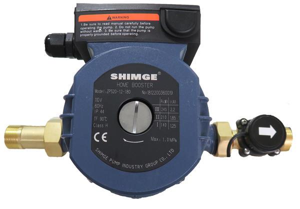 給湯・給水加圧ポンプ(ZPS20-12-180g)流量スイッチ式/三段階調節/最大出力245W/単相110V