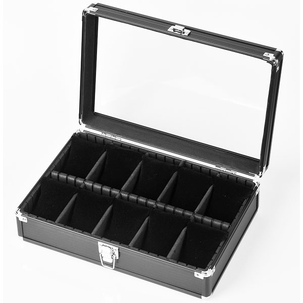 Es'prima エスプリマ社 10本用アルミ時計ケースSE2185020BK ブラックカラー