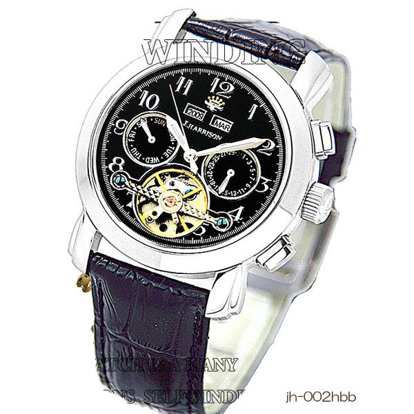 J.Harrison ジョン・ハリソン 4機能表示・ビッグテンプ付・ギミック手巻き式腕時計 JH-002HBB
