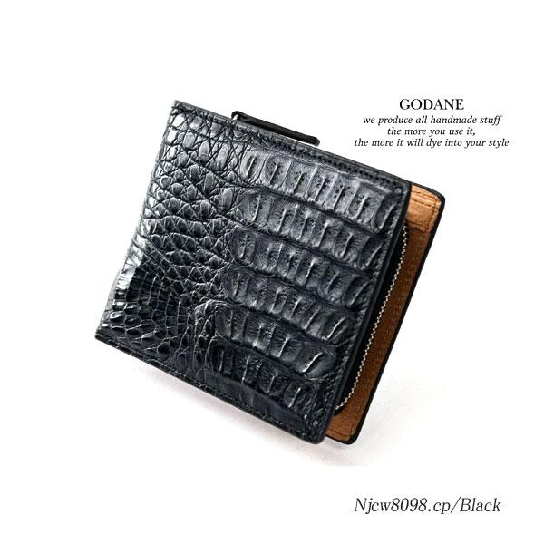GODANE ゴダンNjcw-8098cp/Black カイマンクロコ二つ折財布