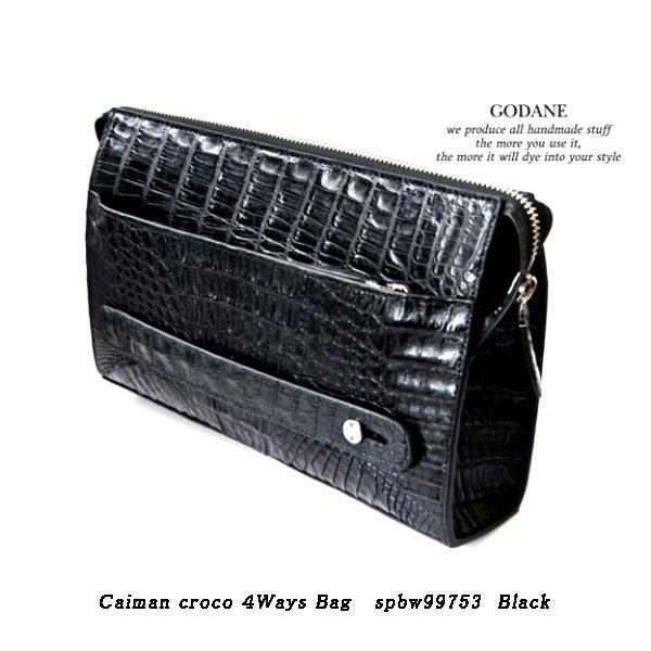 GODANE ゴダン Caiman croco 4Ways Bag spbw99753 Black セカンドバッグ