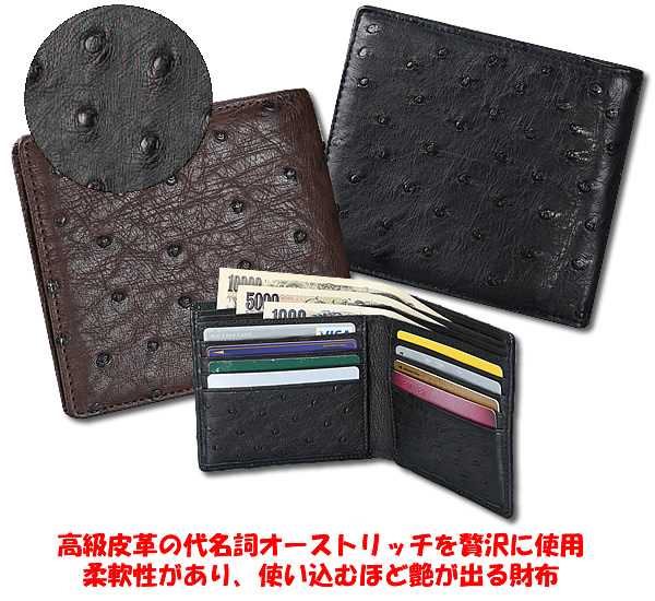 f22748218cc3 フルポイント札入れ二つ折り財布 オーストリッチ革-メンズ財布 - llc ...