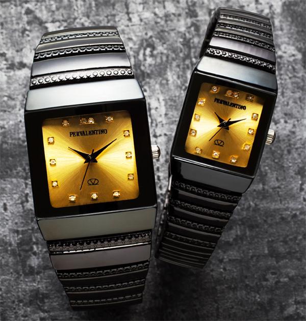 ペレバレンチノ(PERVALENTINO)ダイヤモンドミラノ角時計/ゴールド文字盤