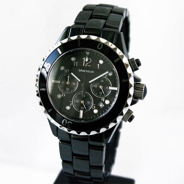 [グランドール]GRANDEUR セラミッククロノグラフ腕時計 GCC002B1