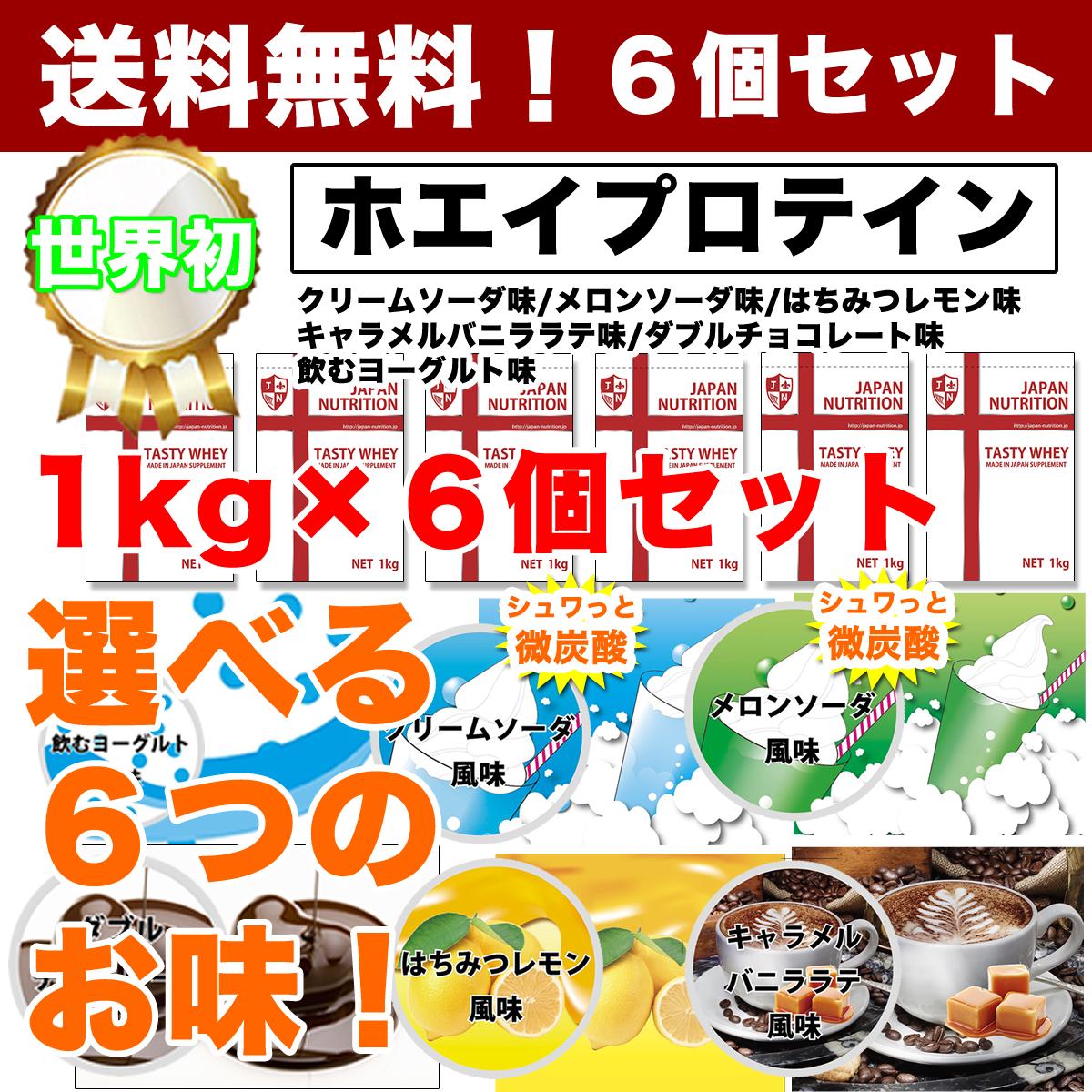 【送料無料!】【テイスティホエイ】【ホエイプロテイン】1kg×6個セット