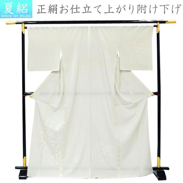 正絹 夏の付け下げ訪問着 絽【淡い白緑色に牡丹/Lサイズ】お仕立て上がり 単品