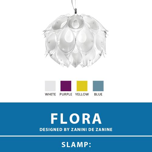 【FLORA:フローラ】SUSPENSION SMALL サスペンション ペンダントライト 4カラー(WHITE/PURPLE/YELLOW/BLUE) E26 1灯 LED付属 天井照明 照明 エレガント 北欧 モダン デザイン 輸入照明 デザイナーズ照明 ブランド照明 ライト ITALY イタリア *SLAMP スランプ