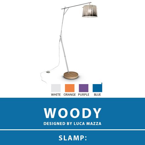 【WOODY:ウッディ】FLOOR LAMP フロアーランプ スタンドライト 4カラー(WHITE/ORANGE/PURPLE/BLUE) E26 1灯 LED電球付属 間接照明 照明 エレガント 北欧 モダン デザイン 輸入照明 デザイナーズ照明 ブランド照明 ライト ITALY イタリア *SLAMP スランプ