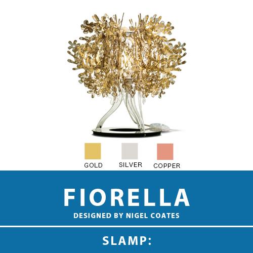 【FIORELLA:フィオレラ】TABLE LAMP テーブルランプ テーブルスタンド 3カラー(GOLD/SILVER/COPPER) E17 1灯 クリアLED電球付属 間接照明 卓上 棚上 スタンド照明 北欧 モダン デザイン 輸入照明 デザイナーズ照明 ブランド照明 ライト ITALY イタリア *SLAMP スランプ