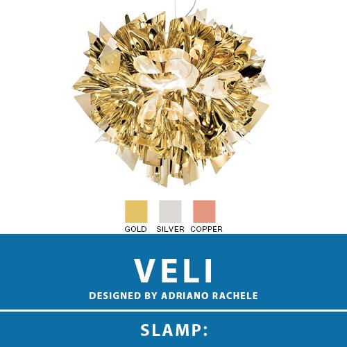 【VELI:ベリ】SUSPENSION LARGE サスペンション ペンダントライト 3カラー(GOLD/SILVER/COPPER) E26 4灯 LED電球付属 天井照明 シーリングライト 照明 エレガント 北欧 モダン デザイン 輸入照明 デザイナーズ照明 ブランド照明 ライト ITALY イタリア *SLAMP スランプ