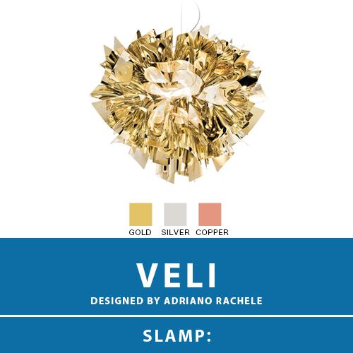【VELI:ベリ】SUSPENSION MEDIUM サスペンション ペンダントライト 3カラー(GOLD/SILVER/COPPER) E26 2灯 LED電球付属 天井照明 シーリングライト 照明 エレガント 北欧 モダン デザイン 輸入照明 デザイナーズ照明 ブランド照明 ライト ITALY イタリア *SLAMP スランプ