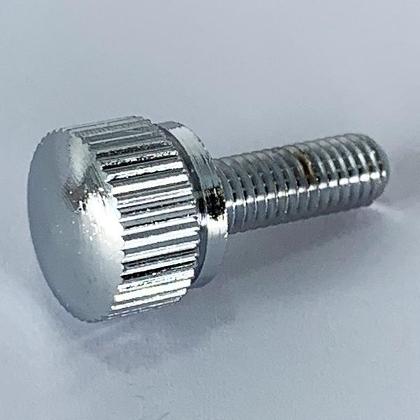 段付きローレットビス並目ピッチM5-0.8x10【カドミレス真鍮(シンチュウ)/クローム/100個入】
