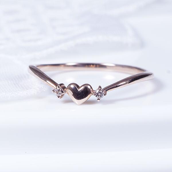 ニューフェイスリング18金ピンクゴールドダイヤデザインリング(20-1375)