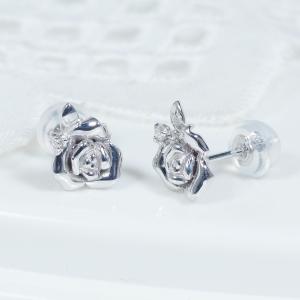 【耳元を飾る素敵なカラーストーンピアス!】18金ホワイトゴールドダイヤデザインピアス(バラ)PA-7581