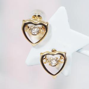 【耳元を飾る素敵なカラーストーンピアス!】18金ダイヤダンシングストーンデザインピアス(ハート)