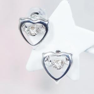 【耳元を飾る素敵なカラーストーンピアス!】18金ホワイトゴールドダイヤダンシングストーンデザインピアス(ハート)