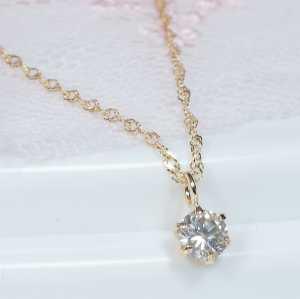 【特別奉仕品】18金0.2カラットダイヤペンダントネックレス