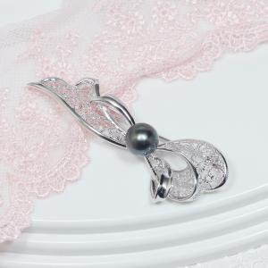 【フォーマルに、またドレスアップの必須アイテム「真珠ブローチ」!モダンなデザインで新登場!】シルバー南洋黒蝶真珠デザインブローチ【IYB-229T】