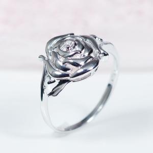 【おすすめ!NEWデザイン】10金ホワイトゴールドダイヤデザインリング【バラ】