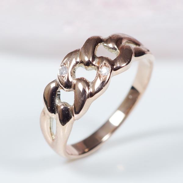 【おすすめ!NEWデザイン】10金ピンクゴールドダイヤデザインリング【鎖(チェーン)】