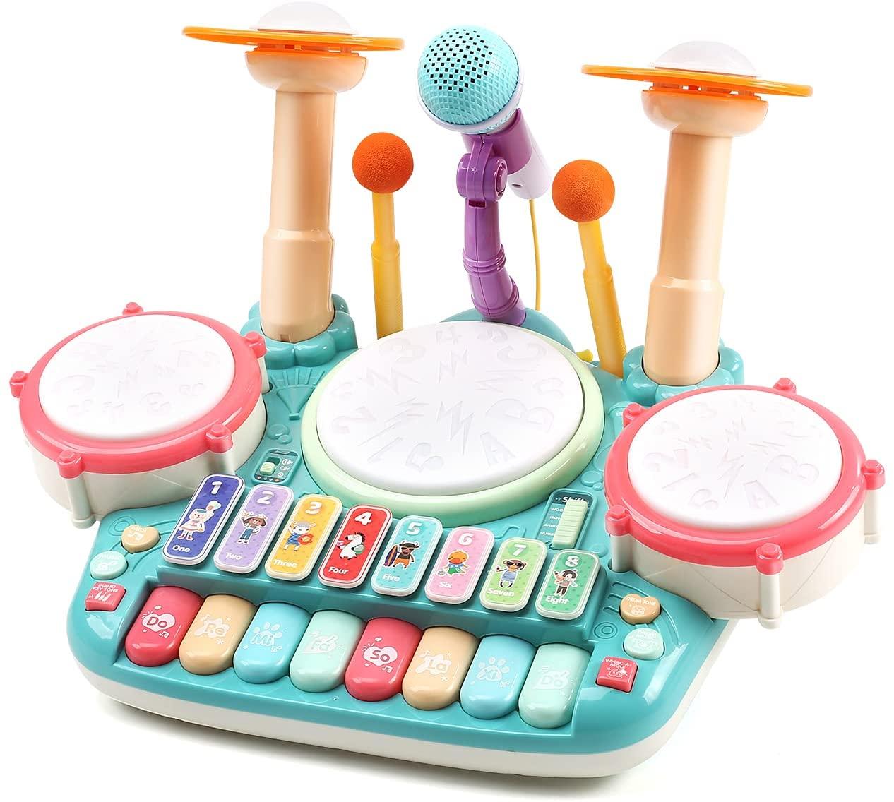 着後レビューで 送料無料 送料無料 音楽おもちゃ ドラムおもちゃ ピアノキーボード 電子 太鼓 鍵盤楽器の玩具 誕生日 5in1楽器玩具 ドラム 木琴 送料無料カード決済可能 マイク2個付き ドウムギター 早期開発 知育玩具 男女通用 女の子 キーボード 男の子 音楽ライト 多機能 ギフト 親子で楽しむ 贈り物