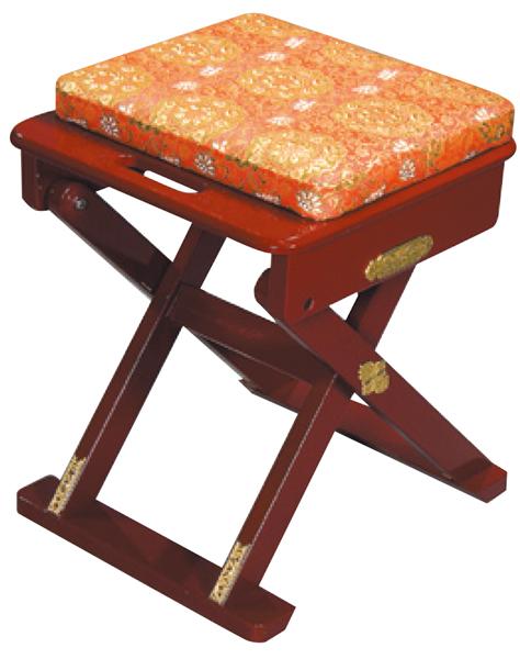 携帯型 僧侶用椅子 1型 朱塗金襴