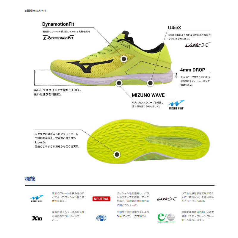 Men's EEE equivalency J1GC1739 for the Mizuno wave sonic wide running shoes training man