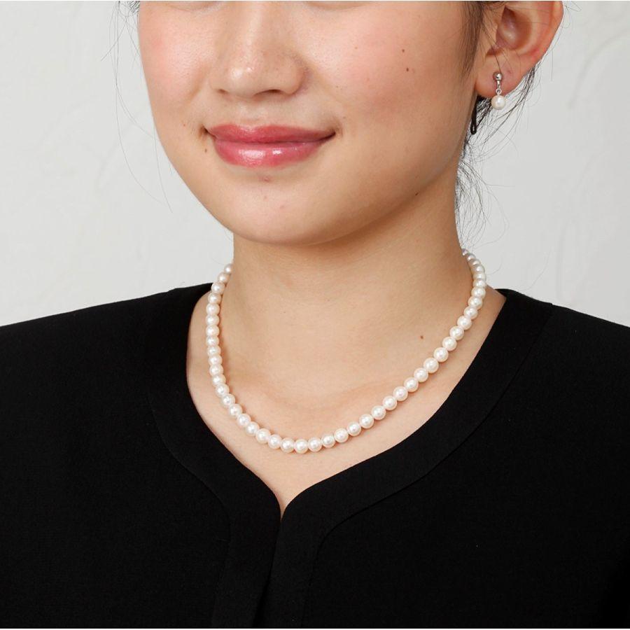 あこや本真珠ネックレスセットネックレス イヤリング 7~7 5ミリ ホワイト アコヤ真珠8mvwNn0