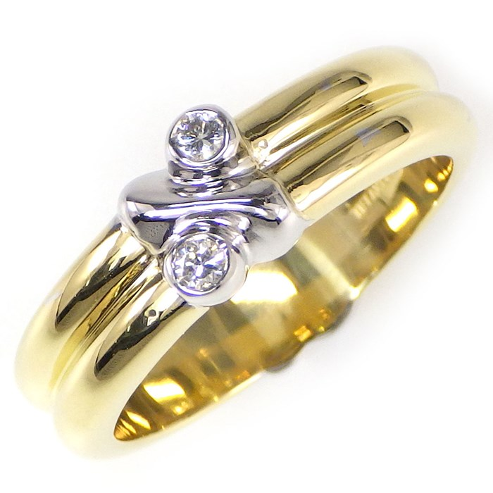 【3%OFFクーポン発行中!5月31日まで】 ティファニー リング シグネチャー K18YG K18WG 2ポイント ダイヤモンド 11号【中古】