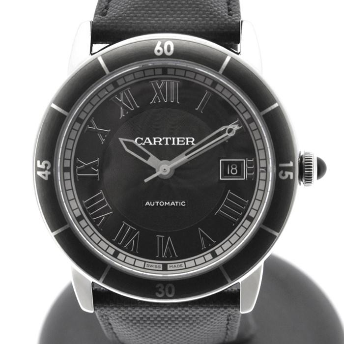 カルティエ Cartier 腕時計 ロンドクロワジエール WSRN003 ブラックギョーシェ文字盤 カレンダー ローマ数字 返品交換不可 ブラック SS 中古 保付き 自動巻き レザー 黒 本日の目玉 箱
