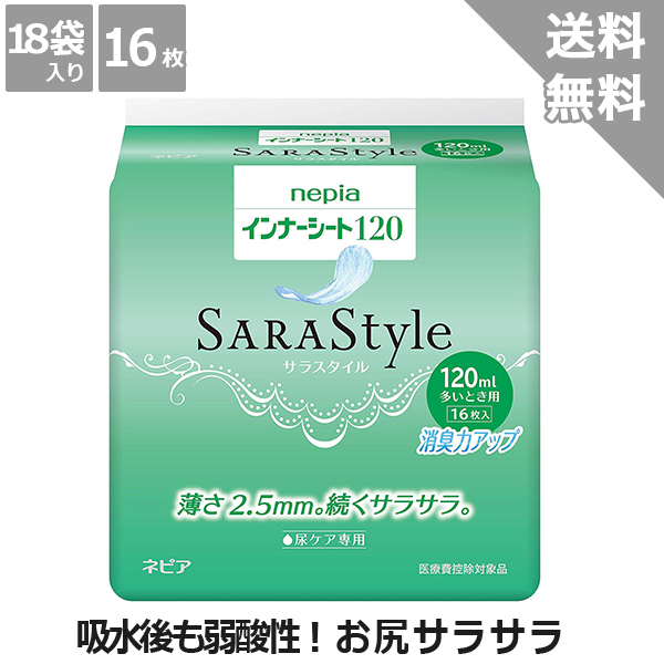 ケース販売【王子ネピア】インナーシートSARA Style60(16枚)18袋入り