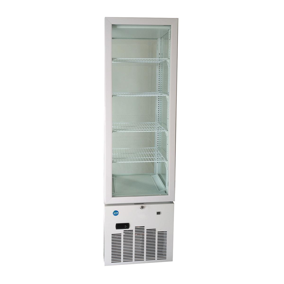 JCM 4面ガラス冷蔵ショーケース(片面扉) 128L JCMS-128 業務用 タテ型 冷蔵 保冷庫 ショーケース LED 【代引不可】