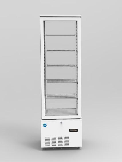 JCM 4面ガラス冷蔵ショーケース(片面扉) 268L JCMS-268 業務用 タテ型 冷蔵 保冷庫 ショーケース LED 【代引不可】