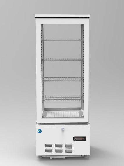 JCM 4面ガラス冷蔵ショーケース(両面扉) 103L JCMS-103W 業務用 冷蔵 保冷庫 ショーケース LED 【代引不可】