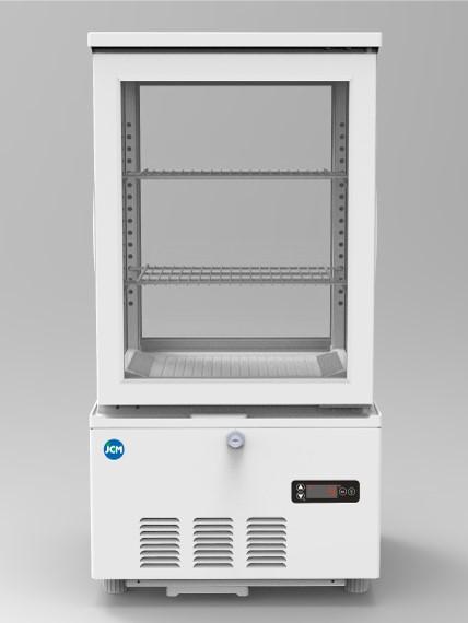 JCM 4面ガラス冷蔵ショーケース(両面扉) 63L JCMS-63W 業務用 冷蔵 保冷庫 ショーケース 卓上型 LED 【代引不可】