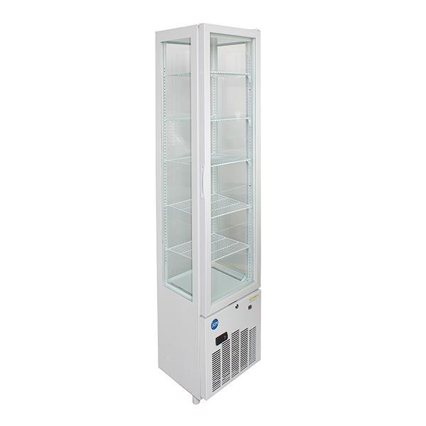 JCM 4面ガラス冷蔵ショーケース(片面扉) 158L JCMS-158 業務用 タテ型 冷蔵 保冷庫 ショーケース LED 【代引不可】