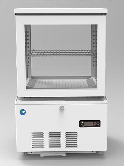 JCM 4面ガラス冷蔵ショーケース(片面扉) 41L JCMS-41 業務用 冷蔵 保冷庫 ショーケース 卓上型 LED 【代引不可】