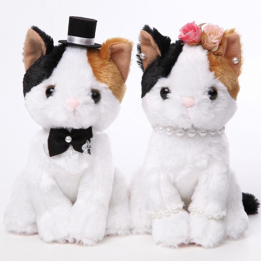 ウェルカムドール ウェディングドール 結婚式 ぬいぐるみ ねこ ペア 三毛猫 高砂 受付 ドリンクスペース フォトブース 結婚祝い