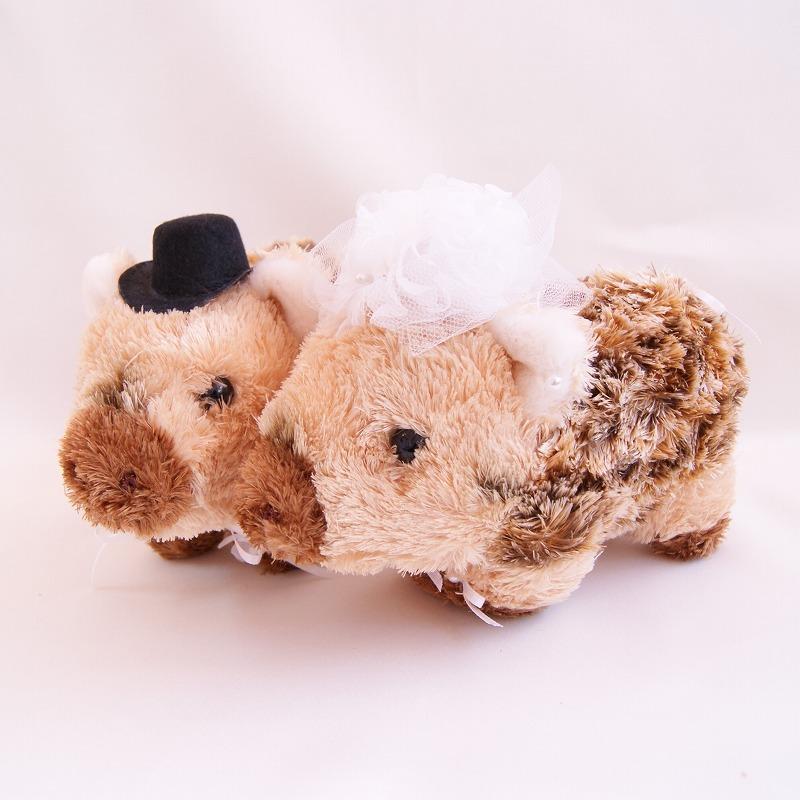 イノシシ ぬいぐるみ 人形 ウェルカムドール・結婚式ぬいぐるみ・ウリ坊ペア|いのしし 高砂 受付 ドリンクスペース フォトブース