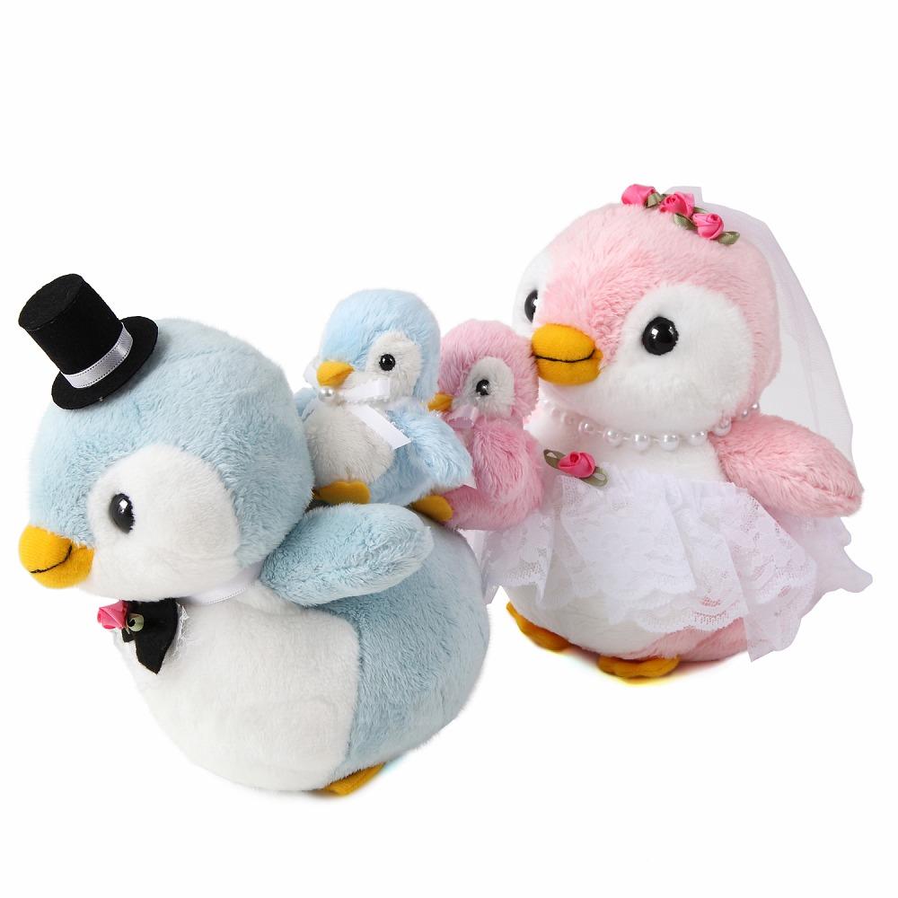 【仲良しファミリーシリーズ】【パステルペンギンペア+子ども(全3体)】パステルペンちゃんのウェルカムドール(ベビー付き) ペンギン ファミリー 家族 子ども付き ギフト ブライダル 結婚式 ぬいぐるみ 人形 ウェルカムドール ウェディングドール 受付 お祝い