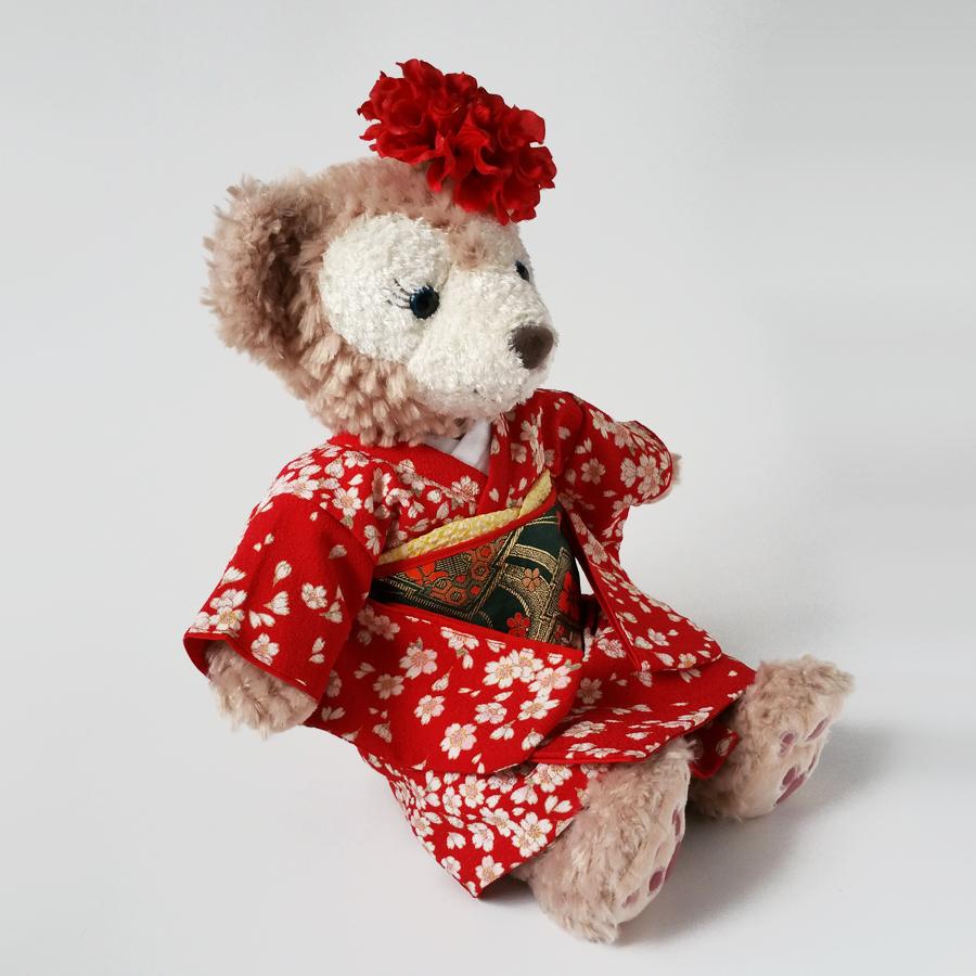 78491146f14ab ウェルカムドール衣装手作りウェルカムドール用着物セットぬいぐるみ用着物振袖(赤)