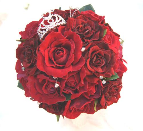 結婚式ブーケ 造花 ウェディングブーケ 造花シルクフラワー 美女と野獣イメージ プリンセスブーケ 造花ラウンドブーケ 結婚式ブーケ赤