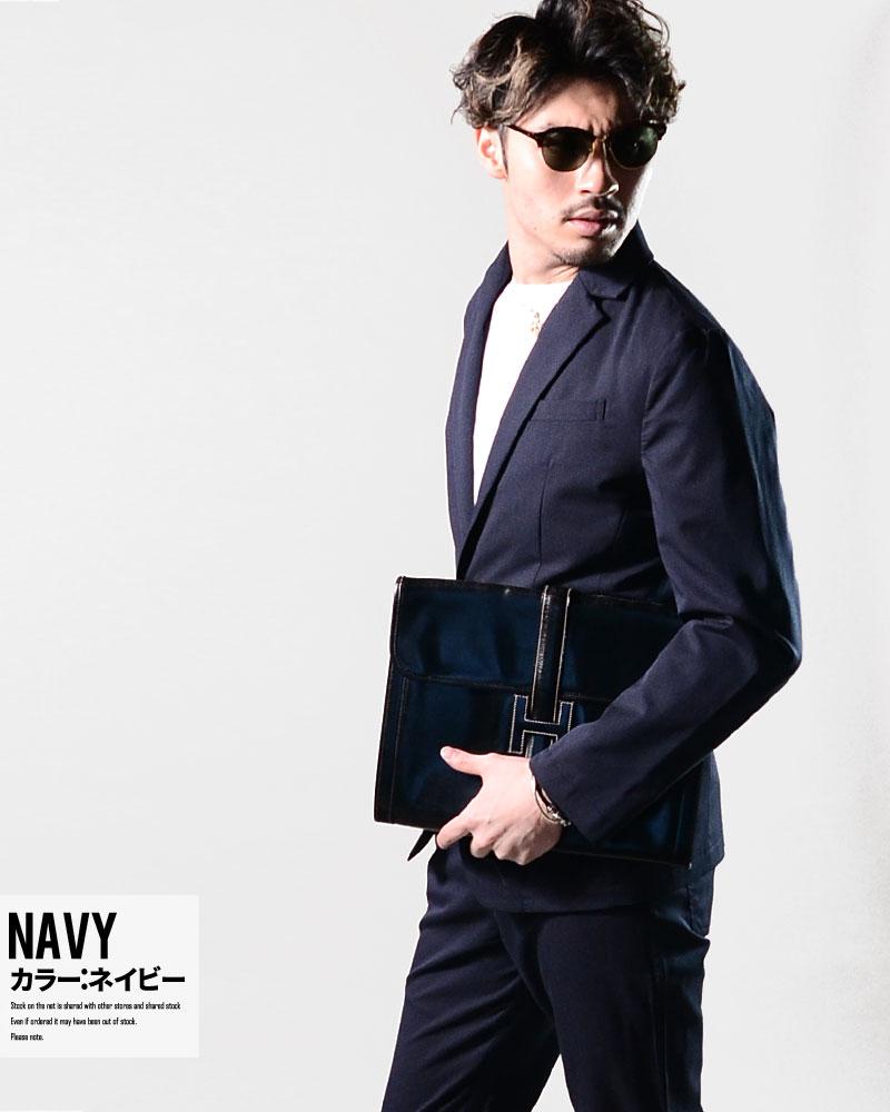 セットアップ メンズ スーツ 春 ストレッチ ビター系 おしゃれ スリム オラオラ系 大人カジュアル ちょいワル 結婚式 パーティー 黒 ネイビー グレー M L LL メンズファッション